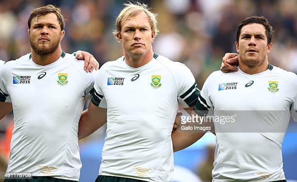 Duane Vermeulen with Schalk Burger and Francois Louw of South Africa during the Rugby World Cup 2015 Pool B match between South Africa and Scotland...