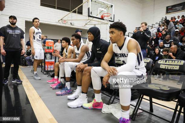 Duane Washington Jr #0 Scotty Pippen Jr #2 Terren Frank Cassius Stanley and Kenyon Martin Jr #4 of the Sierra Canyon Trailblazers are introduced...