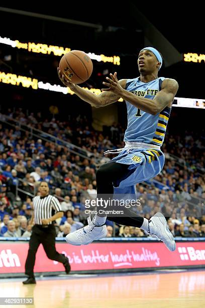 Duane Wilson of the Marquette Golden Eagles drives for a shot attempt against the Seton Hall Pirates at Prudential Center on February 7 2015 in...