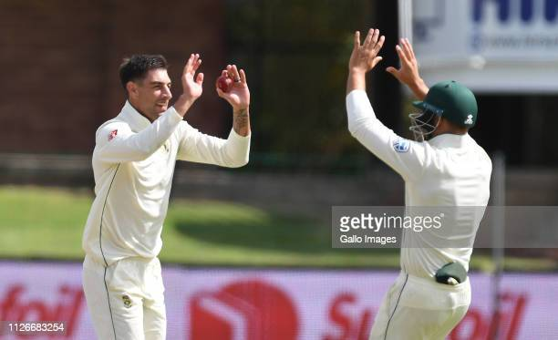 Duanne Olivier celebrate of South Africa c b Lahiru Thirimanne of Sri Lanka during day 2 of the 2nd Castle Lager Test match between South Africa and...