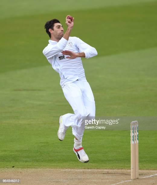 Duanne Olivier of Derbyshire bowls during day two of Specsavers County Championship Division Two between Warwickshire and Derbyshire at Edgbaston on...