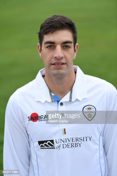 Duanne Olivier of Derbyshire poses for a portrait during Derbyshire CCC Photocall at The 3aaa County Ground on April 12 2018 in Derby England