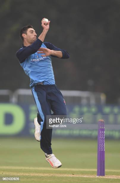 Duanne Olivier of Derbyshire runs into bowl during the Royal London OneDay Cup match between Derbyshire and Leicestershire at The 3aaa County Ground...