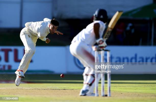 Duanne Olivier of South Africa bowls during day 1 of the 2nd Castle Lager Test match between South Africa and Sri Lanka at St George's Park on...