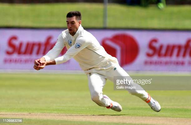 Duanne Olivier of South Africa c b Lahiru Thirimanne of Sri Lanka during day 2 of the 2nd Castle Lager Test match between South Africa and Sri Lanka...