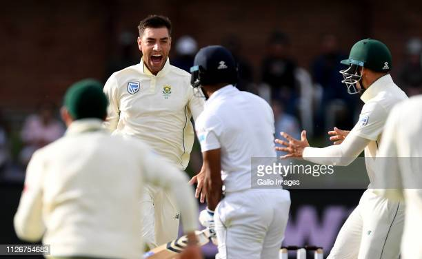 Duanne Olivier of South Africa celebrate the wicket of Dimuth Karunaratne of Sri Lankaduring day 2 of the 2nd Castle Lager Test match between South...