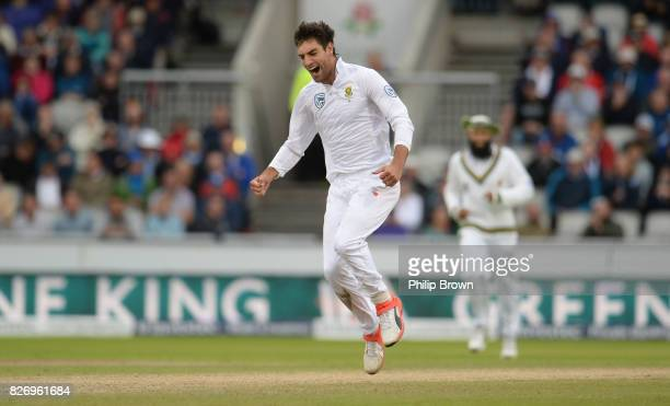 Duanne Olivier of South Africa celebrates after dismissing Ben Stokes of England during the third day of the 4th Investec Test match between England...