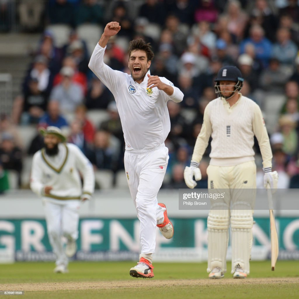 Duanne Olivier of South Africa celebrates after dismissing Ben Stokes of England during the third day of the 4th Investec Test match between England and South Africa at Old Trafford cricket ground on August 6, 2017 in Manchester, England.