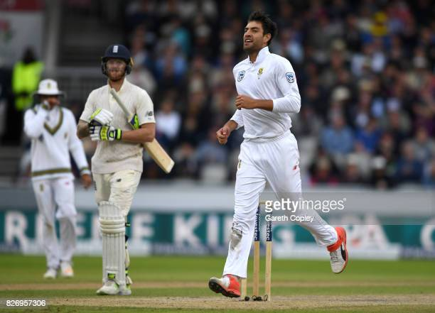 Duanne Olivier of South Africa celebrates dismissing Ben Stokes of England during day three of the 4th Investec Test match between England and South...