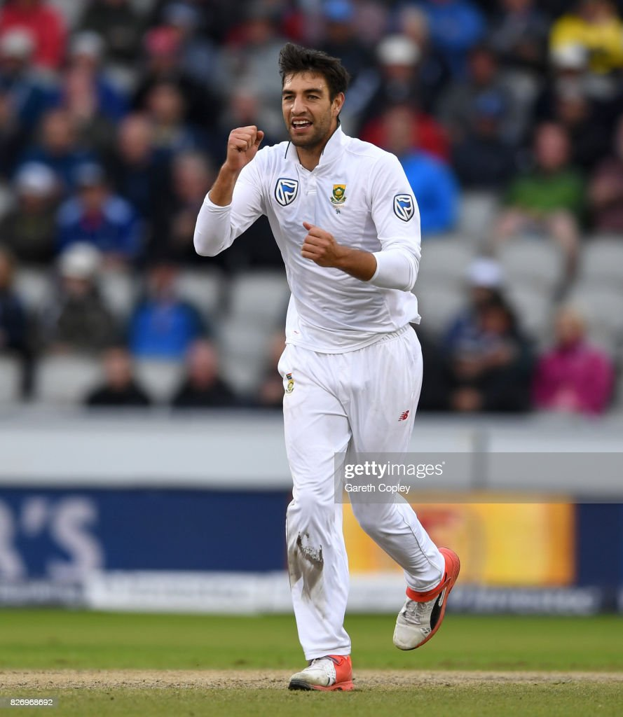 Duanne Olivier of South Africa celebrates dismissing Ben Stokes of England during day three of the 4th Investec Test match between England and South Africa at Old Trafford on August 6, 2017 in Manchester, England.