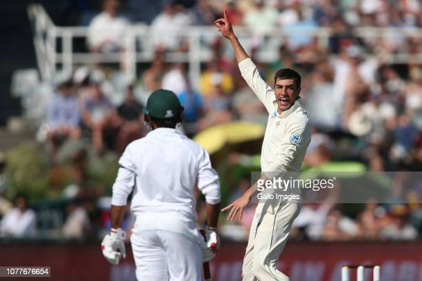 Duanne Olivier of South Africa celebrates getting Pakistan captain Sarfraz Ahmed wicket during day 2 of the 2nd Castle Lager Test match between South...