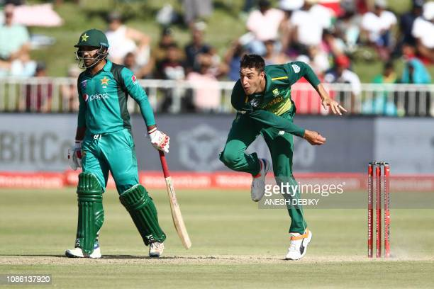 Duanne Olivier of South Africa fields during the 2nd One Day international match between South Africa and Pakistan held at the Kingsmead Cricket...