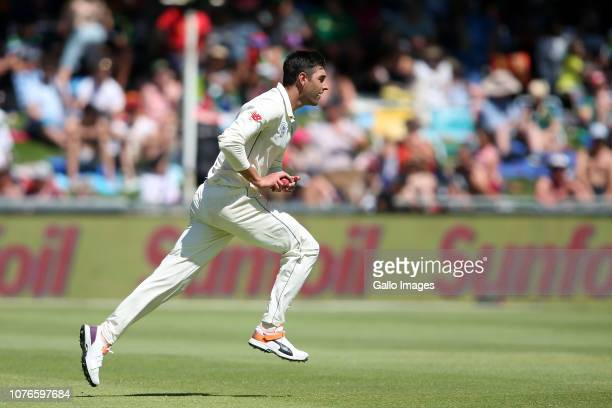 Duanne Olivier of South Africa runs in to bowl during day 1 of the 2nd Castle Lager Test match between South Africa and Pakistan at PPC Newlands on...
