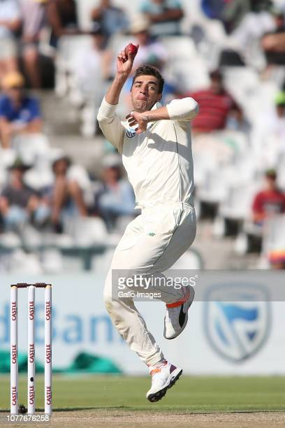 Duanne Olivier of South Africa sends down a delivery during day 2 of the 2nd Castle Lager Test match between South Africa and Pakistan at PPC...