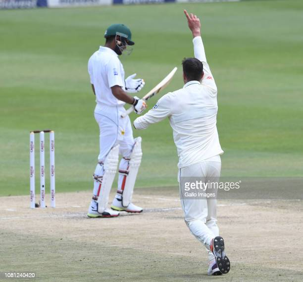 Duanne Olivier of the Proteas celebrates the wicket of Babar Azam of Pakistan during day 2 of the 3rd Castle Lager Test match between South Africa...