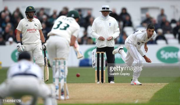 Duanne Olivier of Yorkshire bowls to Joe Clarke of Nottinghamshire during the Specsavers County Championship Division One match between...
