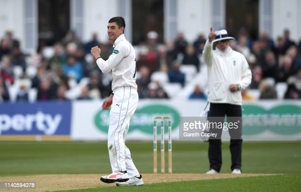 Duanne Olivier of Yorkshire celebrates dismissing Ben Slater of Nottinghamshire during the Specsavers County Championship Division One match between...