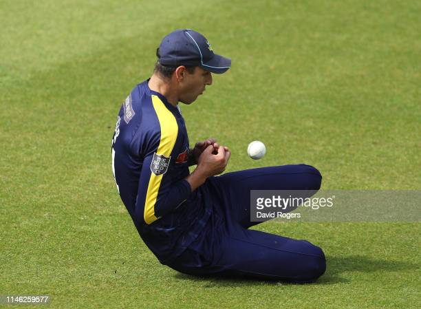 Duanne Olivier of Yorkshire drops Ricardo Vasconcelos during the Royal London One Day Cup match between Northamptonshire and Yorkshire at The County...