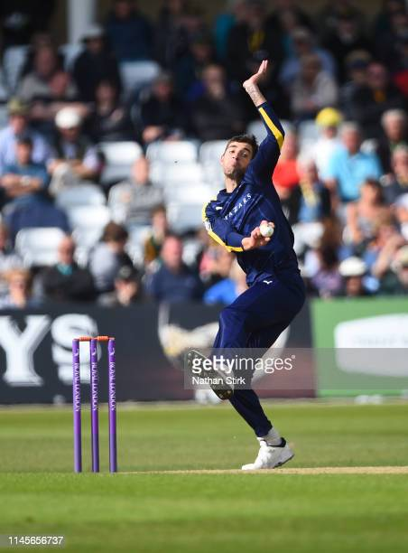 Duanne Olivier of Yorkshire runs in to bowl during the Royal London One Day Cup match between Yorkshire and Nottinghamshire at Trent Bridge on April...