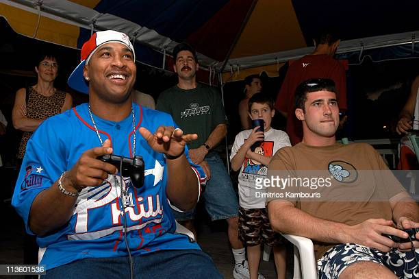Duante Culpepper and Joey Harrington during EA Sports National 2002 Madden Challenge at Beaches Boscobel Resort and Golf Club at Beaches Boscobel...