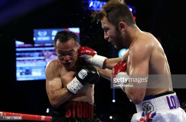Duarn Vue takes a punch from Isaac Lowe during a featherweight fight at MGM Grand Garden Arena on June 15, 2019 in Las Vegas, Nevada. Lowe won by...