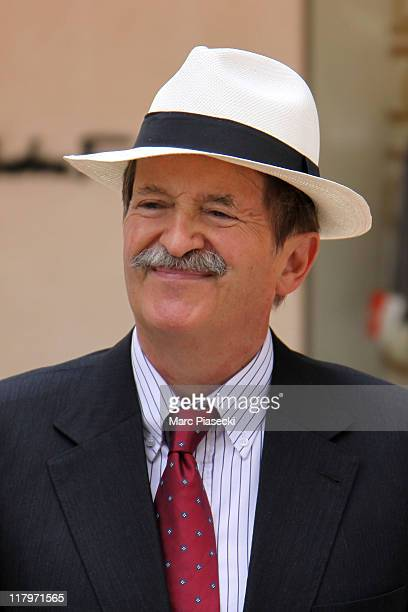 Duarte Pio, Duke of Braganza is sighted leaving the 'Hermitage' hotel before the Royal Wedding of Prince Albert II of Monaco to Charlene Wittstock in...