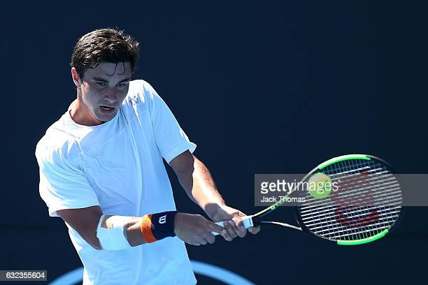 Duarte Vale of Portugal competes against Nikolay Vylegzhanin of Russia during the Australian Open 2017 Junior Championships at Melbourne Park on...