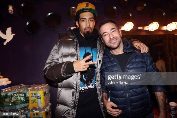 Dub Aura and Ari Melber backstage at Dave East In Concert at Irving Plaza on January 12 2019 in New York City