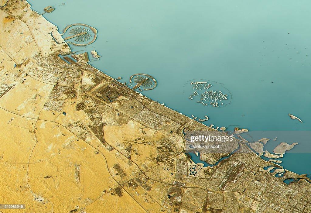 Dubai 3D Landscape View East-West Natural Color : Stock Photo