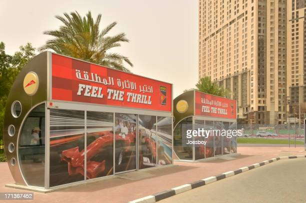 dubai air conditioned bus stop - commercial sign stock pictures, royalty-free photos & images