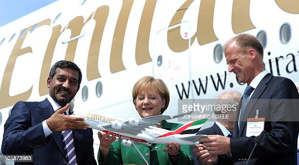 Dubai airline Emirates chief executive Sheikh Ahmed bin Saeed Al Maktoum German Chancellor Angela Merkel and German Airbus President and Chief...