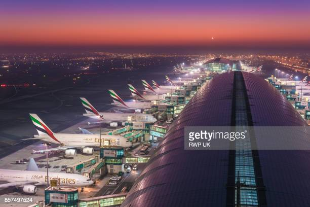 dubai airport captured from control tower - dubai airport stock photos and pictures