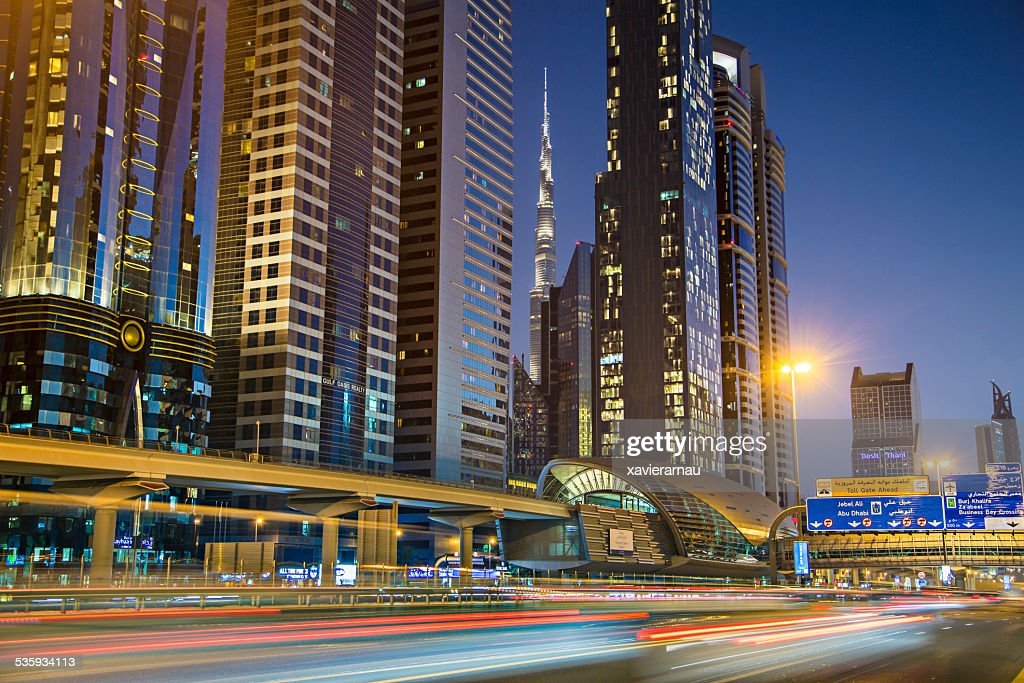 Dubai at dusk : Stock Photo