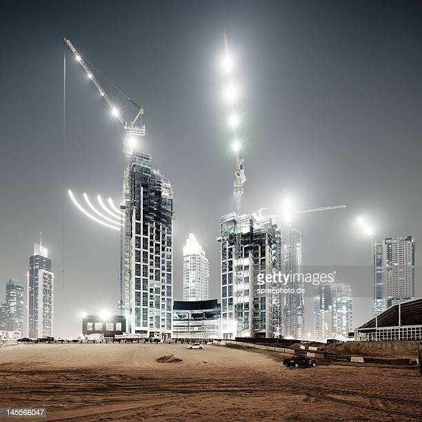 Dubai building yard at night