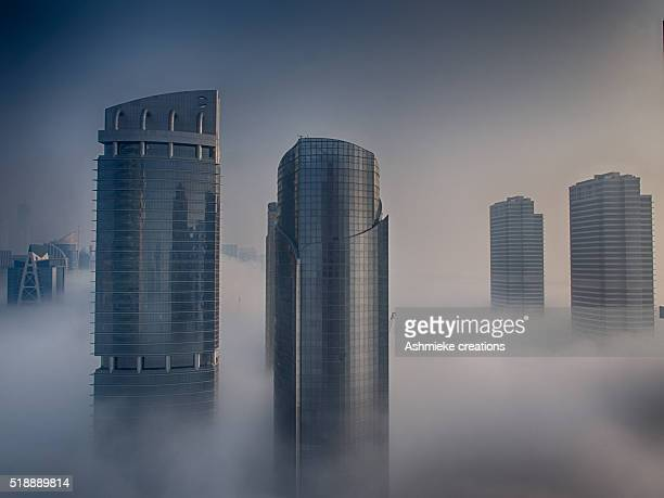 Dubai buildings in Cloud Fog