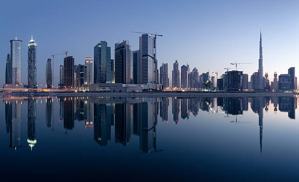 Dubai Business Bay Skyline With Reflections Wall Art