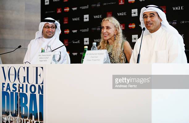 Dubai Cares CEO Tariq al Gurg Editor in Chief Vogue Italia Franca Sozzani and Emaar Properties Chairman Mohamed Alabbar attend the Vogue Fashion...