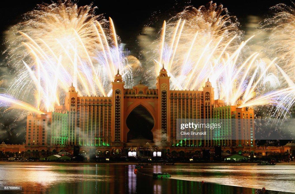 Dubai celebrates the landmark Grand Opening of Atlantis, The Palm Resort, and the Palm Jumeirah during unprecedented pyrotechnics and illumination sequences on November 20, 2008 in Dubai, United Arab Emirates.