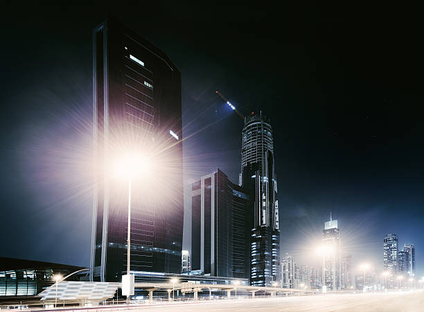 Dubai City Nightshot With Skyline Wall Art