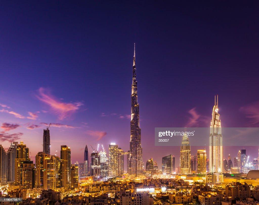 dubai city skyline at night, united arab emirates : Stock Photo