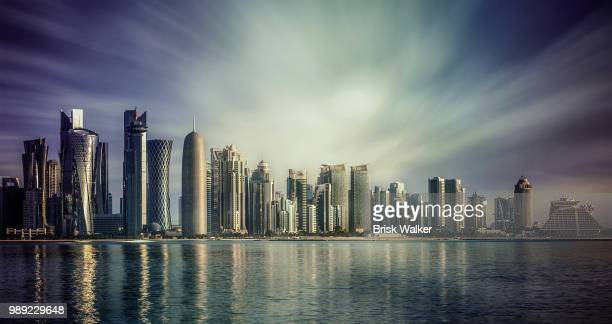 dubai city waterfront skyline, united arab emirates - qatar stock pictures, royalty-free photos & images
