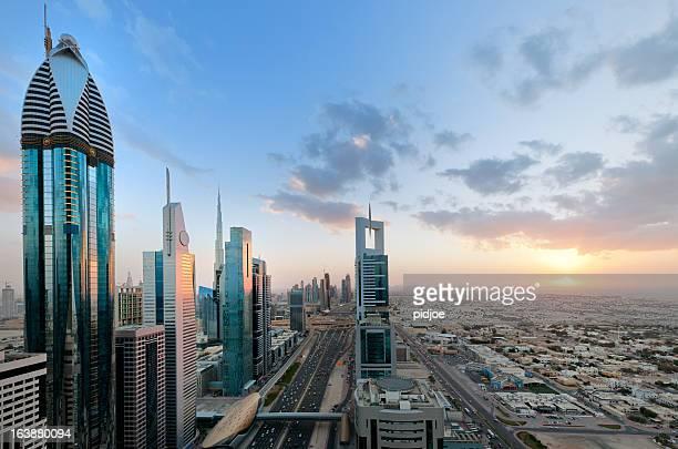 Dubai cityscape at sunset