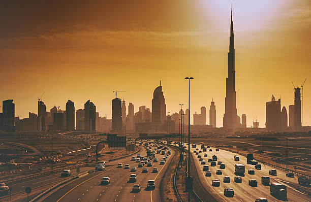 Dubai Cityscape With Skyscrapers And Highways Wall Art