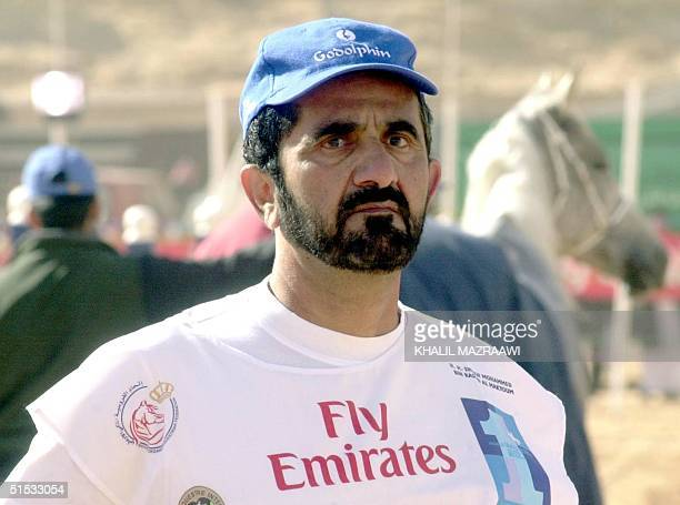 Dubai Crown Prince and UAE Defence Minister Sheikh Mohammed bin Rashed alMaktum looks on prior to the Endurance Race in Wadi Rum 300 km south of...