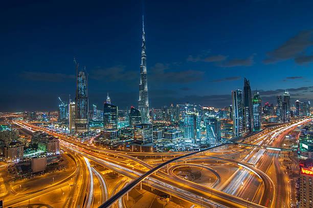 Dubai Downtown Area With Burj Khalifa Wall Art