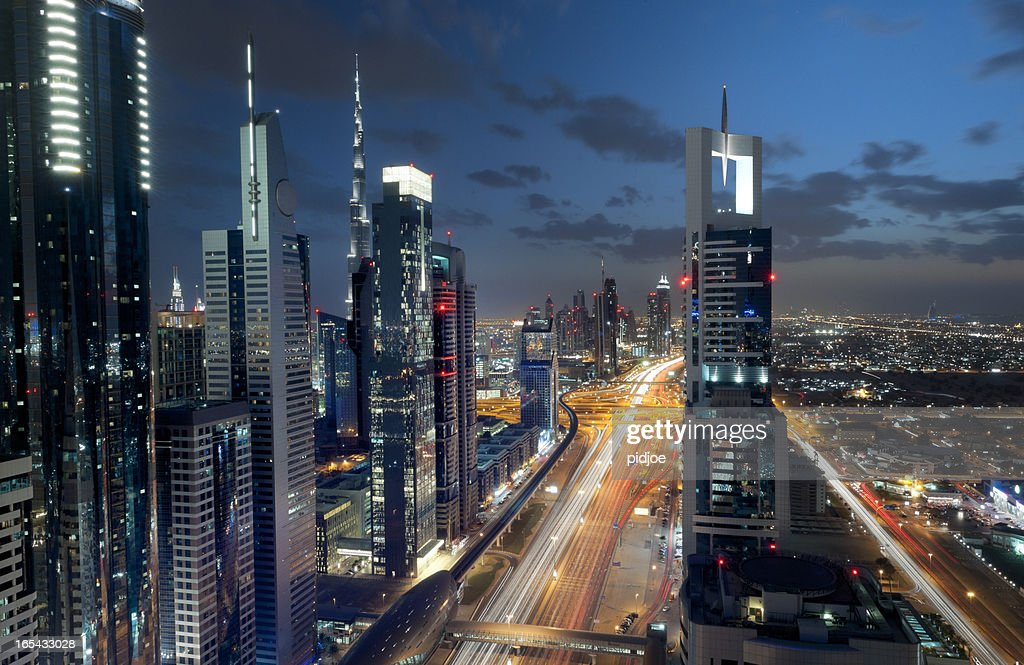 Dubai Downtown At Night Long Exposure Stock Photo