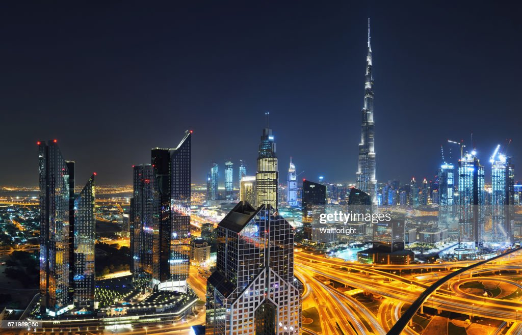 Dubai Downtown At Night Stock Photo | Getty Images