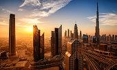 Dubai downtown at sunrise United arab emirates
