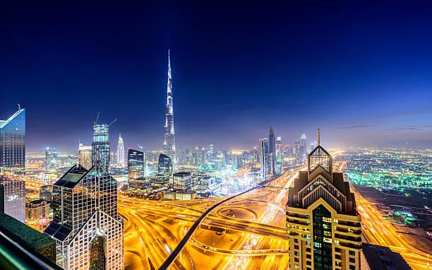 Dubai Downtown Skyline At Night Wall Art