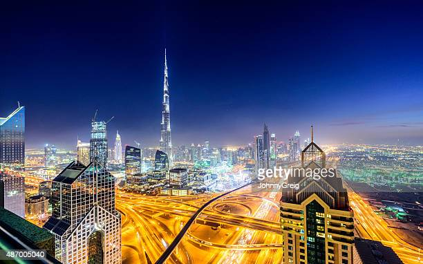 Dubai Downtown skyline at night